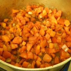 Frite os legumes