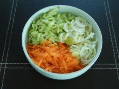 cenoura, abobrinha e alho poró