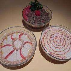 Pastas de gergelim, grão de bico e beringela