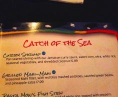 Curry Shrimp no cardápio