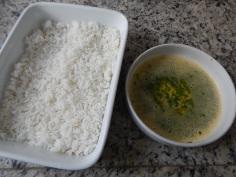 Arroz + ovo batido+ cheiro verde