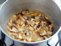 Frite cebola e cogumelos